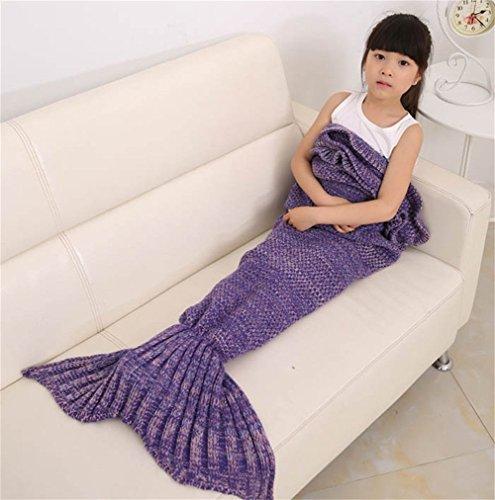 Senmar Mermaid Blanket Kids, Knitted Sleeping Bag Sofa Falbala Mermaid Tail Bed Throw Blanket