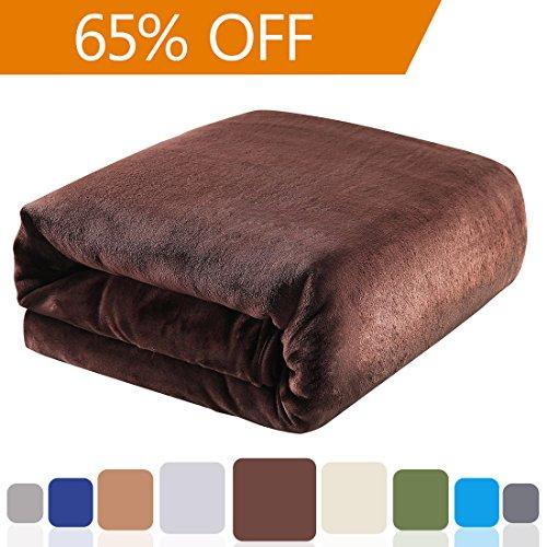 Balichun 330GSM Fleece Twin Bed Blanket, Brown