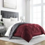 Sleep Restoration Goose Down Alternative Comforter – Reversible – All Season Hotel Quality Luxury Hypoallergenic Comforter -King/Cal King – Burgundy/Grey