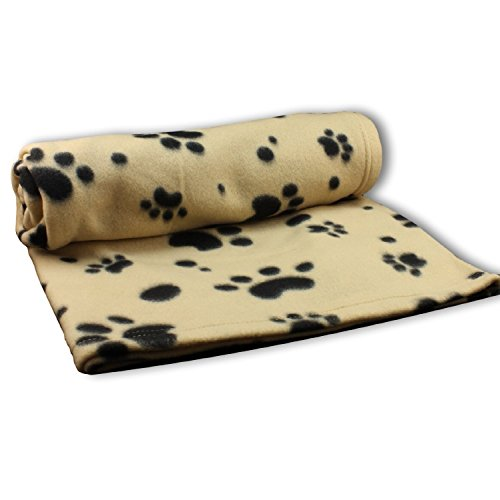 Dog Blanket | Comfy Ultra Soft Fleece Large 60″ x 39″ | Beige with Paw Print Pattern with Soft Finished Edge
