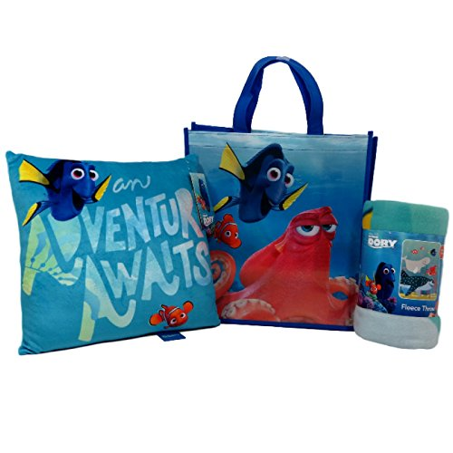 Finding Dory Throw and Adventure Pillow Set with Reusable Tote Great for Sleepovers, Day Care/Pre-School Naps, Travel, and More