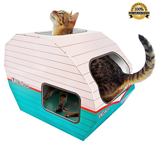 Funny Cat Toys for Indoor & Outdoor Cats by Kitty Camper- Stylish Cardboard House Designed To Entertain – Use as a Scratcher Lounge, Toy or Bed! Kittens Love the Condo Towers Too! – Bonus eBook