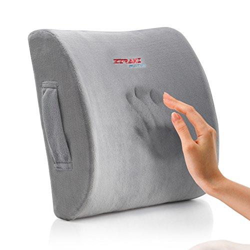 Ziraki Memory Foam Lumbar Cushion – Premium Lumbar Lower Back Pain Lumbar Pillow, Protect and Soothe Your Back – Improve Your Posture – Soft & Firm Balanced Lumbar Support Pillow- Including Gift Bag