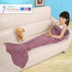 "Senmar Mermaid Blanket Kids, Knitted Sleeping Bag Sofa Falbala Mermaid Tail Bed Throw Blanket, Crochet Blanket Birthday Christmas Gift for Kids(56"" 28"" ) (Dark Pink)"