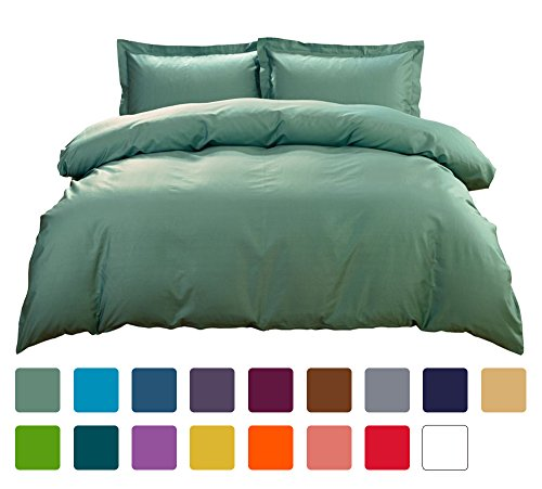 Luxury 100% Cotton Duvet Cover Set of 3 Pieces(1 Duvet Cover + 2 Pillow Shams)(Queen Emerald Green)Hotel Quality Ultra Soft Brushed Microfiber Hypoallergenic Fade and Stain Resistant by SUBAO Bedding