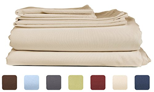 California King Size Sheet Set – 6 Piece Set – Hotel Luxury Bed Sheets – Extra Soft – Deep Pockets – Easy Fit – Breathable & Cooling – Wrinkle Free – Comphy – Tan Beige Bed Sheets – Cali Kings Sheets