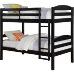Solid Wood Twin Bunk Bed – Twin Over Twin in Black By Mainstays. Perfect Furniture for Girls or Boys Bedroom by Mainstays