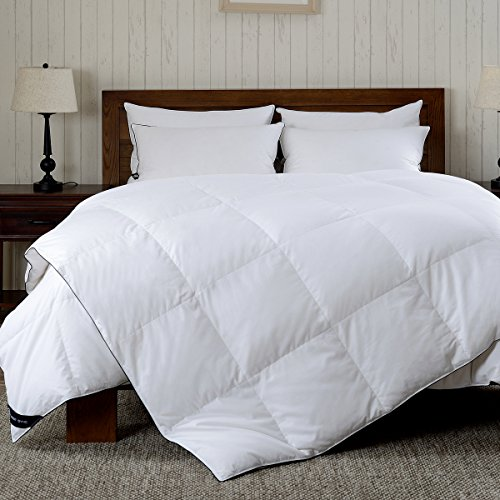 REST SYNC All Seasons White Goose Down Comforter, 300 Thread Count 100% Cotton Fabric, 600 Fill Power, King Size, White