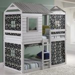House Double Bunk Beds with Camouflage Tents – Free Storage Pockets