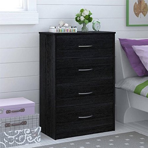 Traditional and Easy Glide 4 Drawer Dresser (Black Ebony Ash)