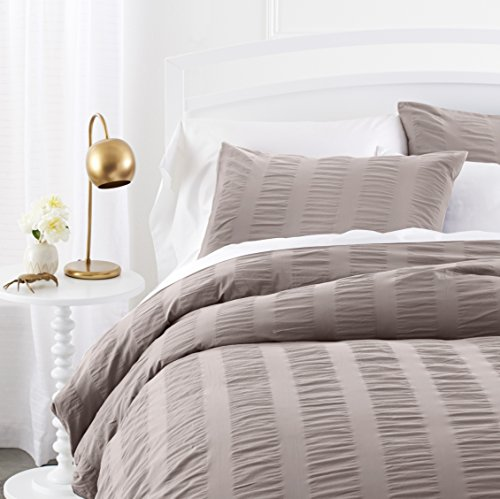 Pinzon Seersucker Duvet Cover Set – King, Dove Grey