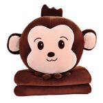 Kiicco 3 in 1 Monkey Travel Blanket & Hand Warmer & Pillow Set Adults Kids Plush Pillow (Smile)