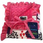 Baby Girls Reversible Minky Velboa Stroller Blanket (Choose Color) (Safari / Hot Pink)