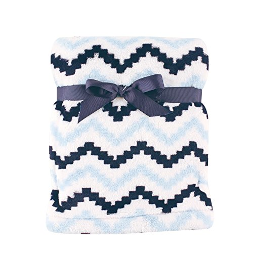 Hudson Baby Super Plush Blanket, Blue Chevron, 30″ x 40″