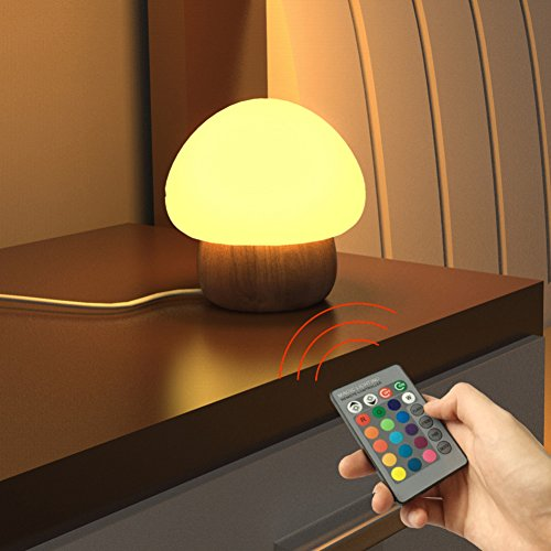 ANGTUO Night Light LED Mushroom Lamp Silicone with Wireless Remote Control 16 Different Color for Kid Bedroom.