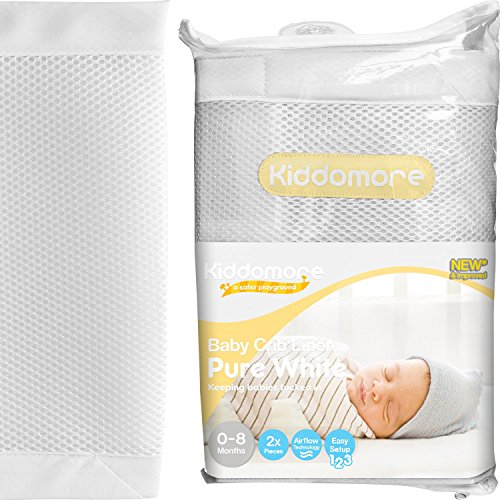 Premium Pure White Baby Mesh Crib Liner for All Cribs – Breathable Airflow Rail Cover and Bumper – Best for Protecting Your Baby From Getting Arms and Legs Stuck