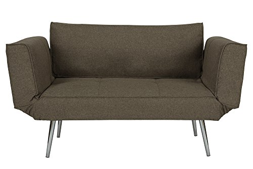 DHP Euro Sofa Futon Loveseat with Chrome Legs and Adjustable Armrests – Gray