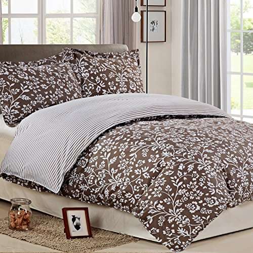 NTBAY 3 Pieces Duvet Cover Set Printed Microfiber Reversible Design(Queen, Grayish brown)