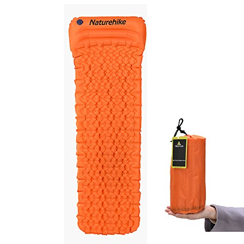 Backpacking Sleeping Pad by Hikenture – Camping Blow Up Mattress with Build-In Pillow – Compact and Ultralight – for Hiking, Travel, Cot,Hammock,Tent (Orange)