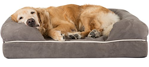 Friends Forever Ultimate Large Dog Bed / Lounge, Prestige Edition (36 x 28 x 9″) (Pewter)