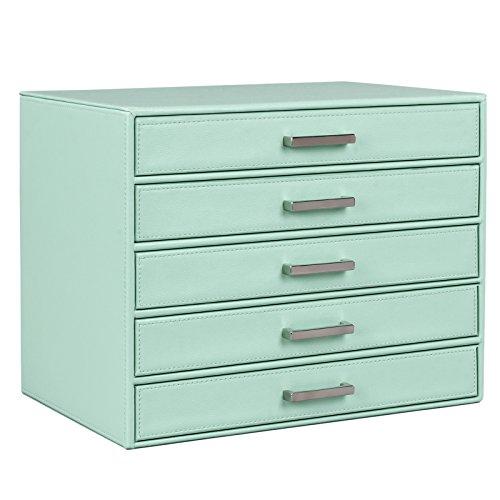 SONGMICS Jewelry Storage Organizer Faux Leather Turquoise Large Makeup Box Case 5 Drawers UJBC136