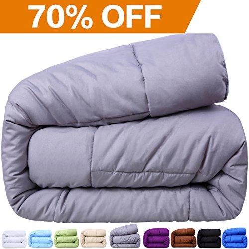 Balichun Queen Goose Down Alternative Comforter, Light Gray