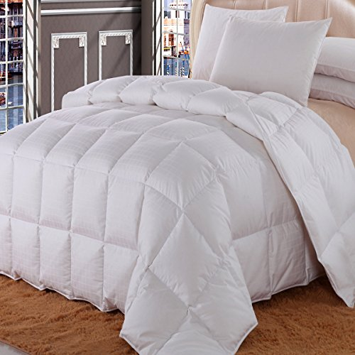 Royal Hotel California King Size Dobby Checkered White goose Down-Comforter 106×90″ 650-Fill-Power 100 % Cotton Shell 300TC -Luxury Duvet Insert 40 oz. fill by Wholesalebeddings