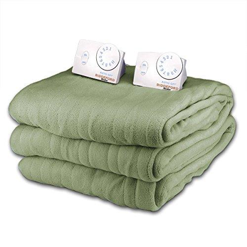 Soft Microplush Queen Size Electric Heated Blanket by Biddeford (Seafoam)