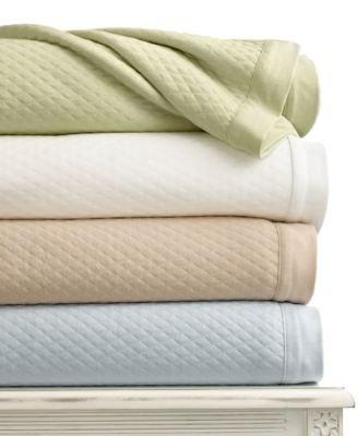 Martha Stewart Quilted Knit Cotton  Blanket, Twin, Green