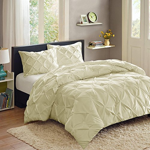 Sweet Home Collection 3 Piece PP Luxury Pinch Pleat Pintuck Fashion Duvet Set, Queen, Cream