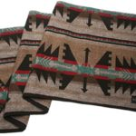 Ruth&Boaz Outdoor Wool Blend Blanket(A) (61″X83″) Ethnic Inka Pattern (BROWN LARGE)