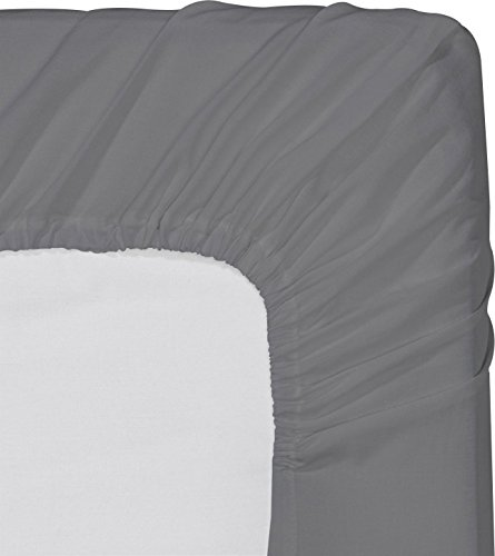 Fitted Sheet (Full – Grey) – Deep Pocket Brushed Velvety Microfiber, Breathable, Extra Soft and Comfortable – Wrinkle, Fade, Stain and Abrasion Resistant – by Utopia Bedding