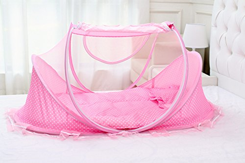 SINOTOP Baby Crib Mosquito Ded Portable for Travel, Baby Bed Folding Baby Mosquito Net Portable Baby Cots for 0-18 Month Baby (PINK)