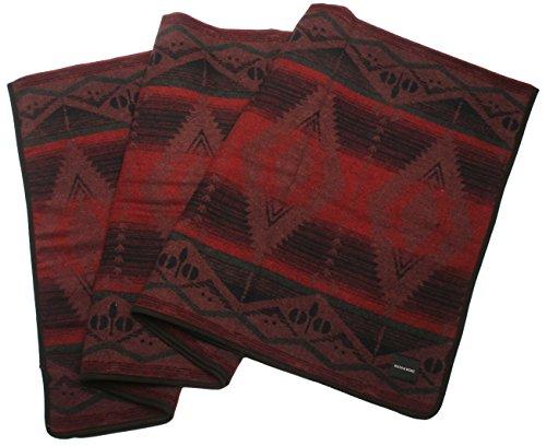 Ruth&Boaz Outdoor Wool Blend Blanket(C) (59″X55″) Ethnic Inka Pattern (WINE)