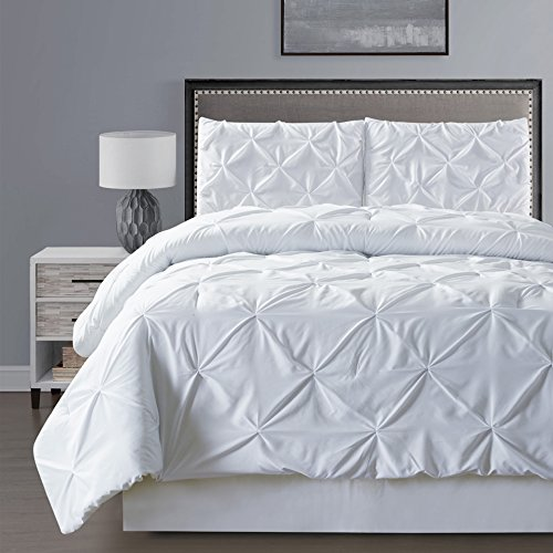 3 – Piece Solid WHITE Pinch Pleat DUVET COVER Set KING Size Bedding
