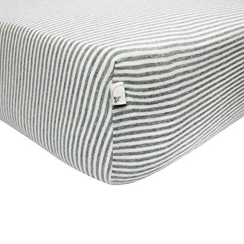 Burt's Bees Baby – Bee Essentials Stripe Crib Sheet, 100% Organic Crib Sheet for Standard Crib and Toddler Mattresses (Heather Grey)