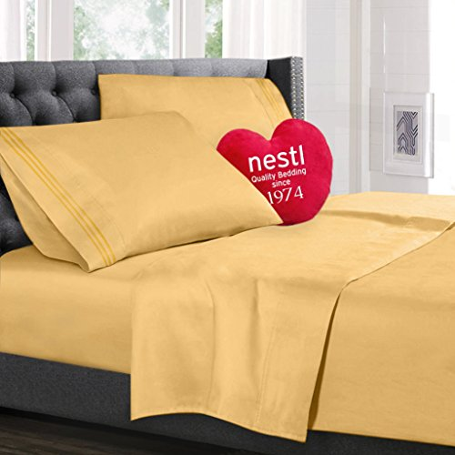 Bed Sheet Bedding Set, 100% Soft Brushed Microfiber with Deep Pocket Fitted Sheet – FULL – YELLOW – 1800 Luxury Bedding Collection, Hypoallergenic & Wrinkle Free Bedroom Linen Set By Nestl Bedding