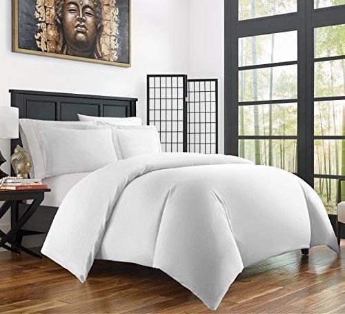 Zen Bamboo Ultra Soft 3-Piece BambooFull/QueenDuvet Cover Set –Hypoallergenic and Wrinkle Resistant, White