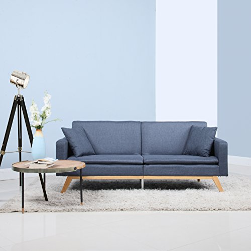 Modern Tufted Linen Splitback Recliner Sleeper Futon Sofa (Dark Grey)