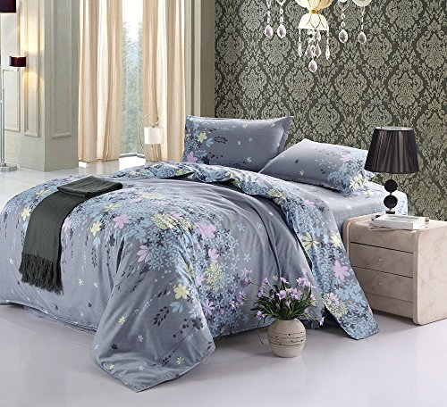 Vaulia Lightweight Duvet Cover Sets, Floral Print Pattern Design, Grey – Twin Size