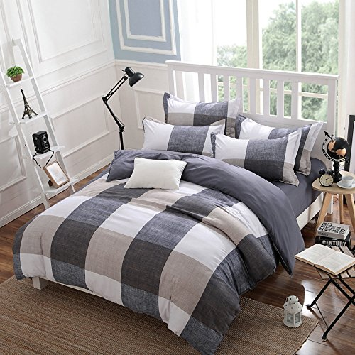 Belles Maison Checkered Gray and white Duvet cover,Full Queen Size
