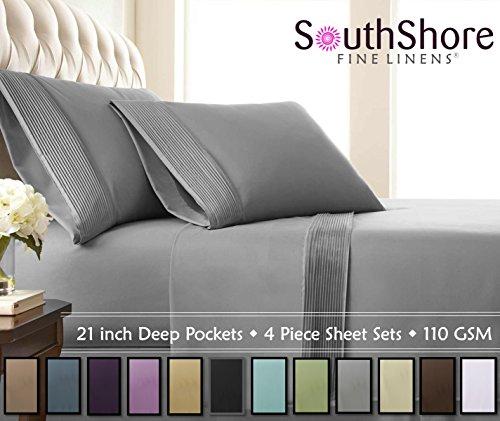 Southshore Fine Linens® – 4 Piece – Extra Deep Pocket Pleated Sheet Set , QUEEN , STEEL GRAY
