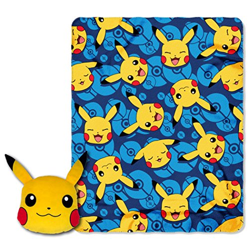 """Pokemon """"Choose Pika"""" 16″ Applique Big Face Character Pillow and 40″ by 50″ Fleece Throw in Pocket Set by The Northwest Company"""