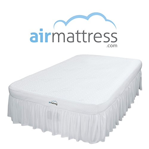 Full Size BEST CHOICE Inflatable Air Mattress with Hypoallergenic Bamboo Bed Sheet and Skirt. Includes Built-In High Capacity Air Bed Pump.