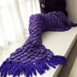 Handmade Mermaid Tail Blanket Crochet , Ibaby888 All Seasons Warm Knitted Bed Blanket Sofa Quilt Living Room Sleeping Bag for Kids and Adults(72.8″x35.5″, Fish-scales Tasseled Violet)