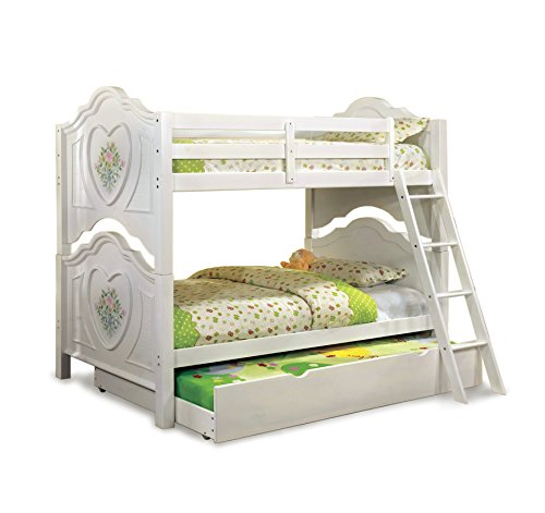 HOMES: Inside + Out 2 Piece ioHOMES Hailey Bunk Bed and Trundle Set, Twin, White