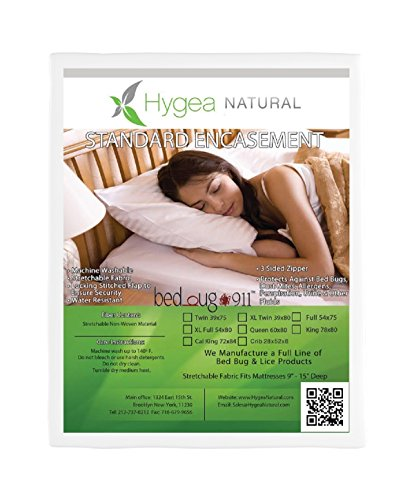 Hygea Natural Bed Bug Mattress Cover, Box Spring Cover   Standard   Water Resistant, Dust Mite & Allergen Proof Mattress Protector – Twin