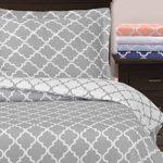 Duvet Covers Egyptian Quality Queen Duvet Cover Set, 3pc Luxury Soft, 2 Pillow ShamsFull/Queen, Grey/White)