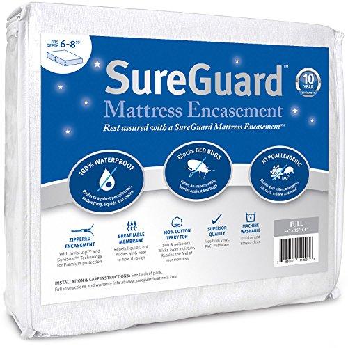 Full (6-8 in. Deep) SureGuard Mattress Encasement – 100% Waterproof, Bed Bug Proof, Hypoallergenic – Premium Zippered Six-Sided Cover – 10 Year Warranty