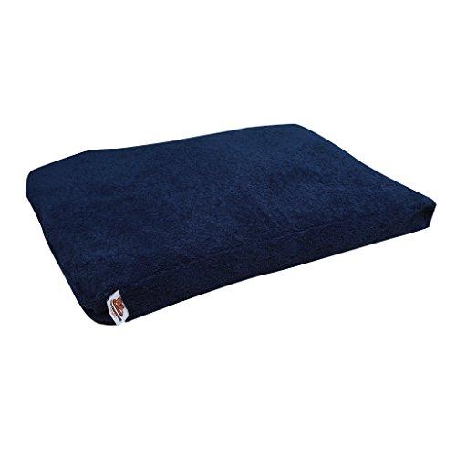 Ten Thousand Dog Beds Plush Large – 44 x 34 x 4 Inch – Navy Sherpa Fleece